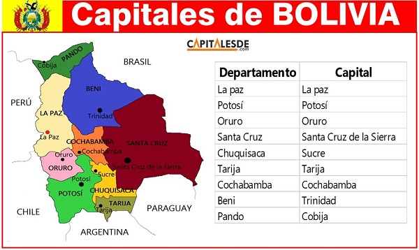 departamentos y capitales de bolivia