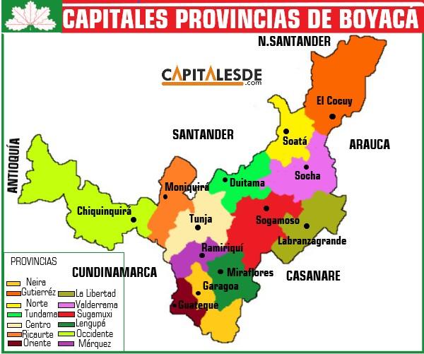 capitales de las provincias de boyaca