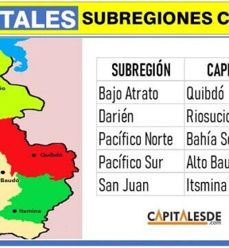 capitales de las subregiones del choco