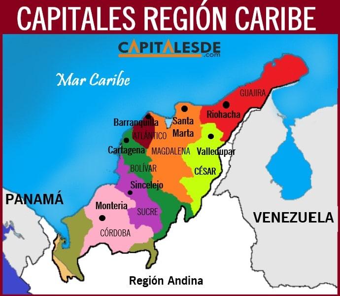 departamentos y capitales de la region caribe