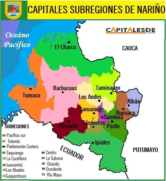 mapa de las subregiones de nariño