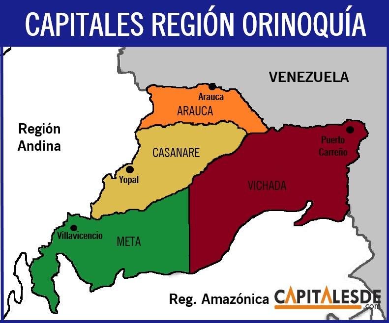 region orinoquia y sus capitales