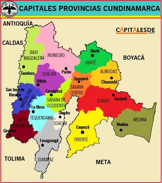 provincias de cundinamarca y sus capitales