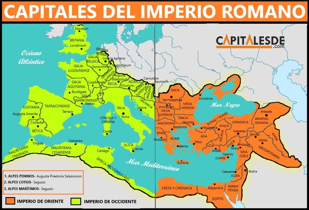 imperio romano y sus capitales