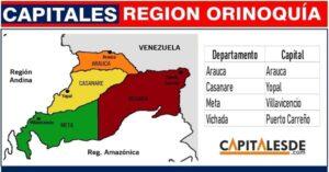 departamentos y capitales de la region orinoquia