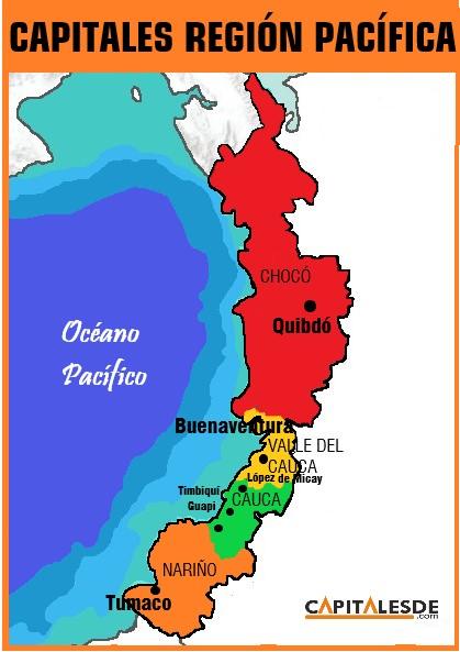 region pacifica y sus capitales