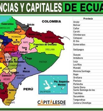 listado de las provincias y capitales de ecuador