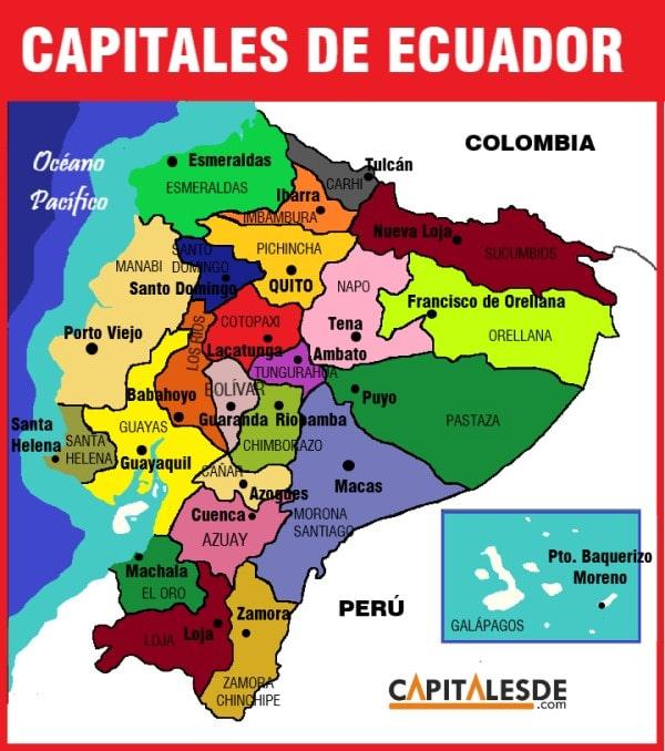 Provincias Y Capitales Del Ecuador Listado Capitales De