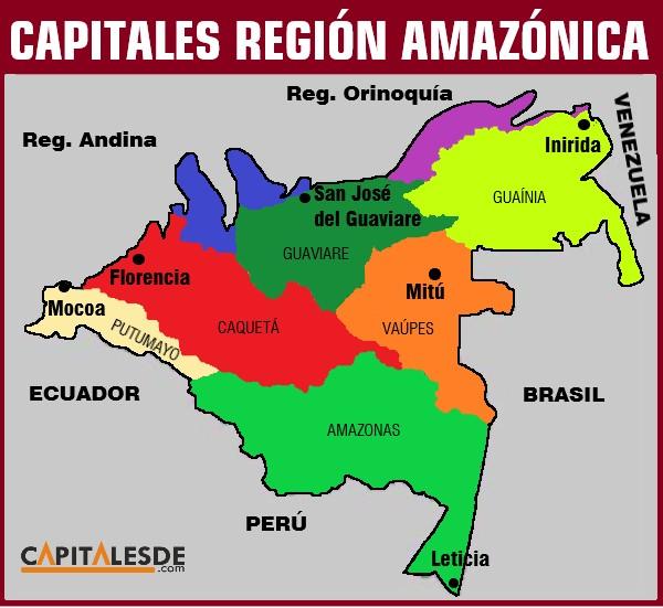 region amazonica y sus capitales