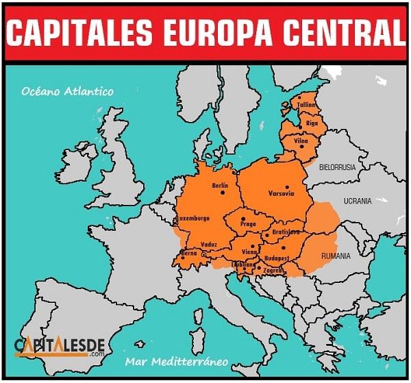 mapa de los paises de europa central y sus capitales