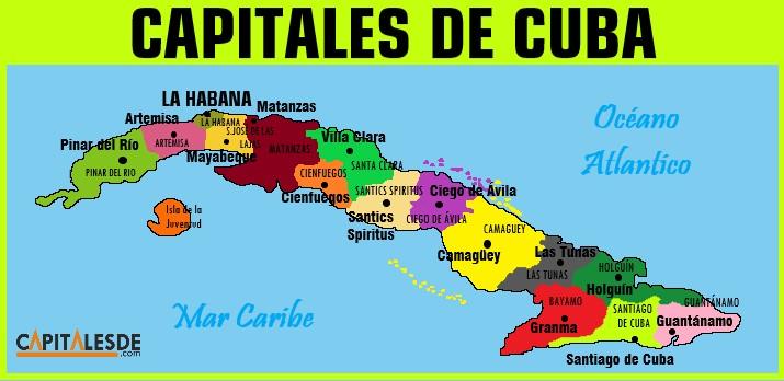 mapa de las provincias y capitales de cuba