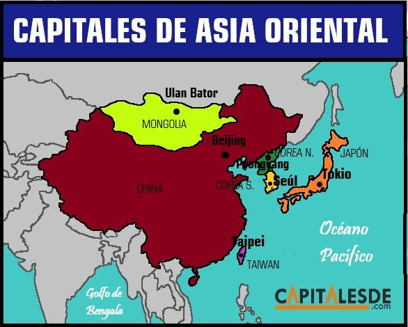 paises y capitales de asia oriental