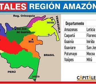departamentos y capitales de la region amazonica