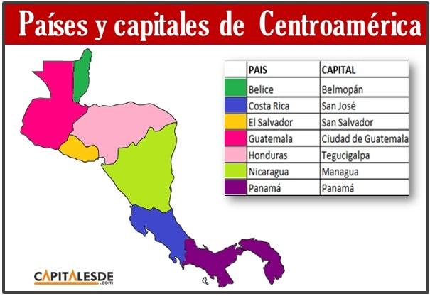 Listado de los paises y capitales de Centroamerica