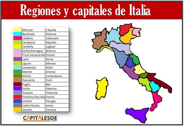 Listado de las regiones y capitales de Italia