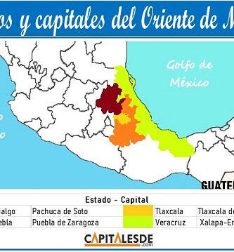 estados del oriente de mexico y sus capitales