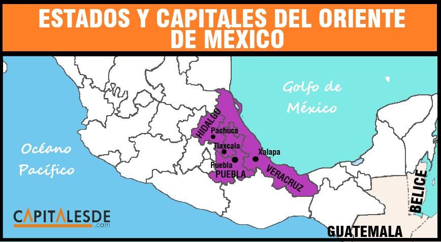 mapa del oriente de mexico