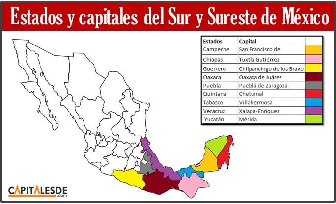 Estados de Mexico y sus capitales mapa